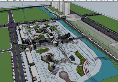 万达景观环境设计SU草图大师模型 中式建筑带景观绿化sketchup模型