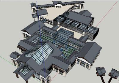 生态庄园中式风格sketchup模型下载  庄园设计SU模型