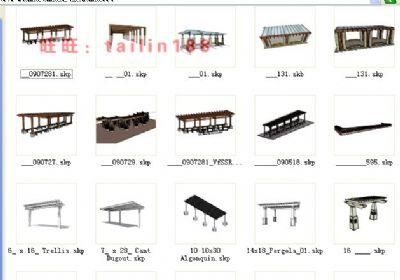 220个廊架 花架 园林景观配景sketchup组件库模型/廊架 花架SU草图大师模型库