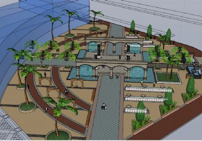 生活广场景观绿化SU模型,城市广场景观sketchup模型