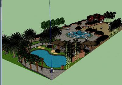 街心花园广场景观SU模型 小区广场景观sketchup模型