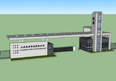 江苏斌奥科技有限公司大门建筑sketchup模型 公司入口大门SU模型