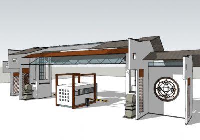 中式大门入口建筑SU模型下载