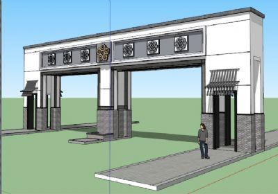 中式大门SU模型 住宅小区中式大门sketchup模型