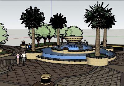 广场喷泉 水池SU模型 景观sketchup模型