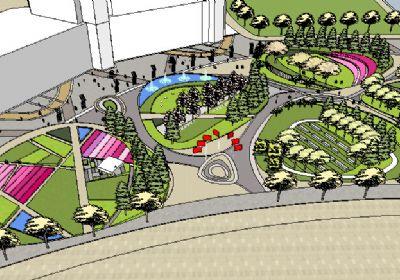 生活广场景观全套绿化SU模型免费下载 广场景观Sketchup草图大师模型