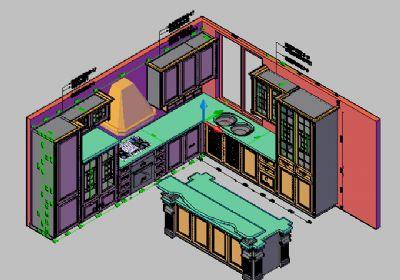 一套超细豪华实木橱柜CAD三维图