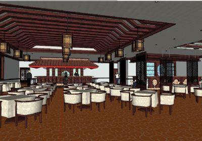 超精细中式餐厅SU模型下载