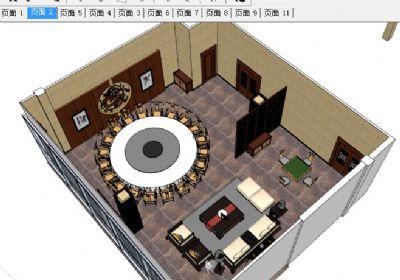 精细中式餐厅大包厢SU模型下载