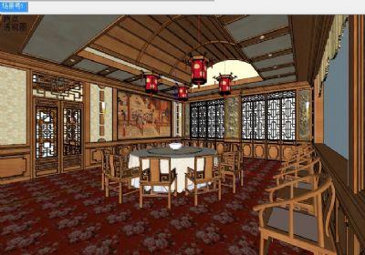 中式古典宴会厅SU模型下载