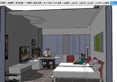 酒店标间室内整体SU模型下载