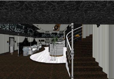 酒吧室内整体场景SU模型下载