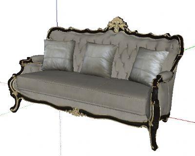 宫廷壹号家具三人沙发Sketchup模型