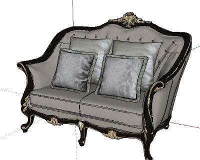 宫廷壹号家具双人沙发Sketchup模型