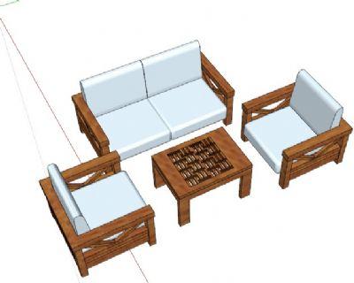 中式实木沙发组合Sketchup模型