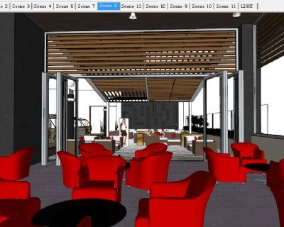 咖啡厅室内场景SU模型