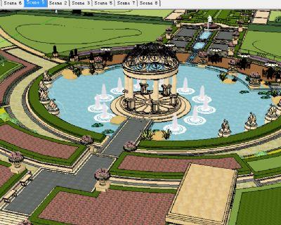 广场大型喷泉水池草图大师模型下载