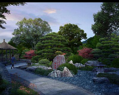 98张古典园林景观PSD效果图素材打包下载