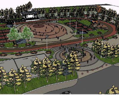 SU模型广场绿化设计