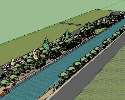 Sketchup河道景观模型