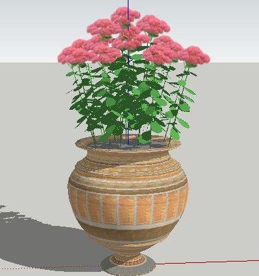 sketchup欧式花钵植物模型150