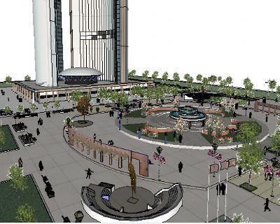草图大师广场景观模型下载67