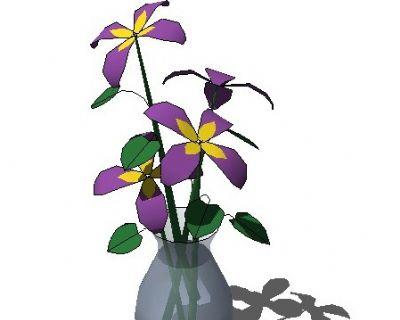 sketchup室内插花植物模型255
