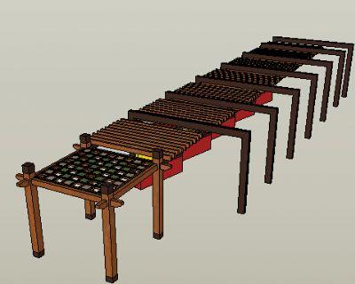 木廊架Sketchup模型