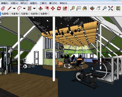 一套室内健身房SU模型下载