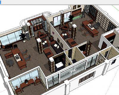 一套su办公室整体模型含多款办公家具
