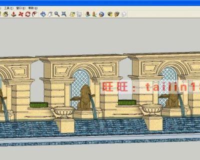 107个园林景观墙sketchup模型