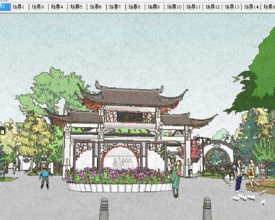 茶亭公园主入口SU模型