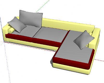 L形沙发SKP模型