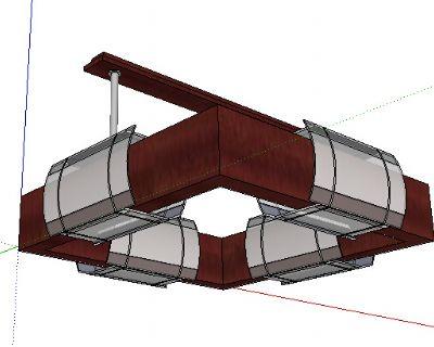 方形中式吊灯Sketchup模型