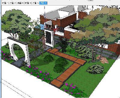 一套别墅花园SU模型