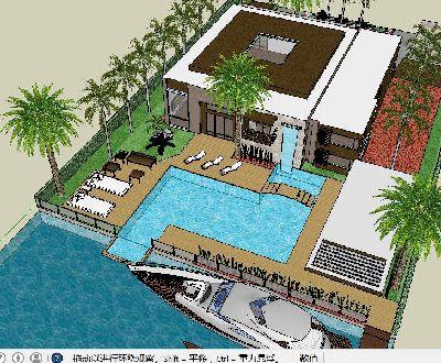 别墅庭院游泳池景观SU模型