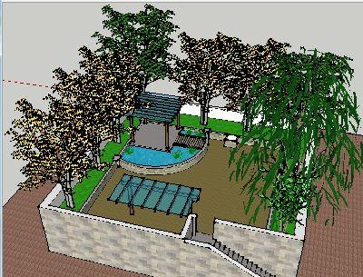 Sketchup屋顶花园景观模型
