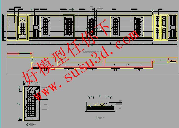 过道吊顶cad平面图_欧式高端KTV设计全套施工详图带高清无水印效果图含水电图 -好 ...