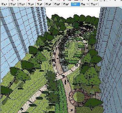 办公楼景观SU模型