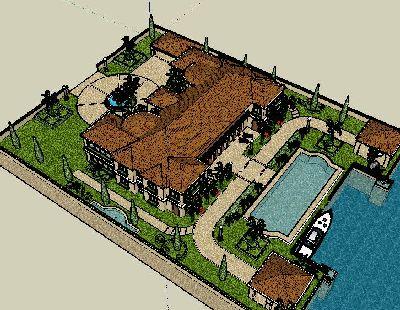 英式别墅花园全套景观草图模型
