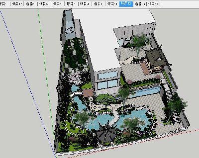 别墅庭院绿化全套SU模型