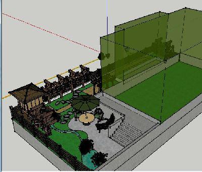 中式庭院景观SKp模型