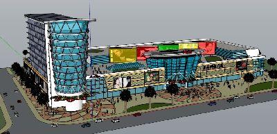 草图大师商业广场模型