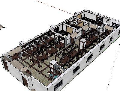 草图大师中式仿古餐厅模型
