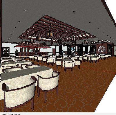 中式风格室内餐厅草图大师模型