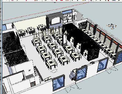 草图大师火锅店餐厅室内模型