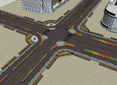 十字交通路口景观SU模型