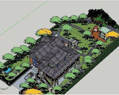 草图大师别墅绿化设计