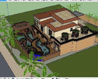 独幢别墅庭院景观模型