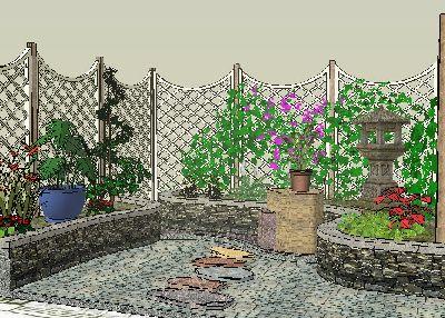 草图大师庭院景观模型